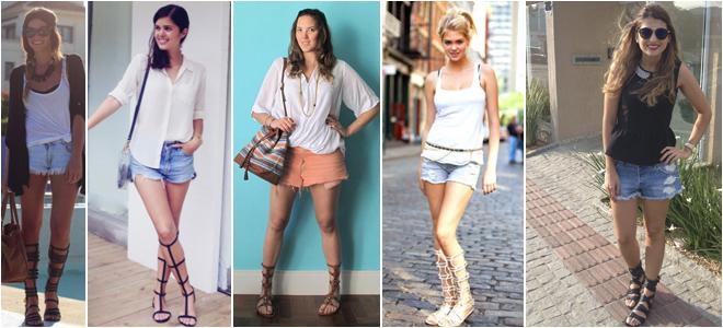 shorts+gladiadoras sem salto